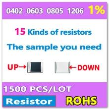 OHM 1% F 0402 1005 0603 1608 0805 2012 1206 3216 10R-1M 15 Tipos de DIY kit de amostra de Um total de 1500 resistor