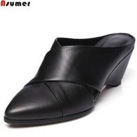 ASUMER White Black Fashion Spring Autumn Ladies Shoes Pointed Toe Shallow Street Shoes Women Genuine Leather