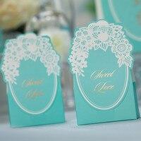 50psc Creative Wedding Candy Box High Grade Gift Box Paper Tiffany Blue Green 72x40x130mm