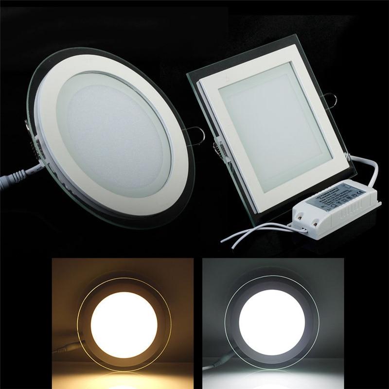 Super Lumineux 24 W LED En Verre Panneau Lumineux Encastré Au Plafond Downlight Spot Down Light Rond/Carré AC85-265V Éclairage Intérieur lampe