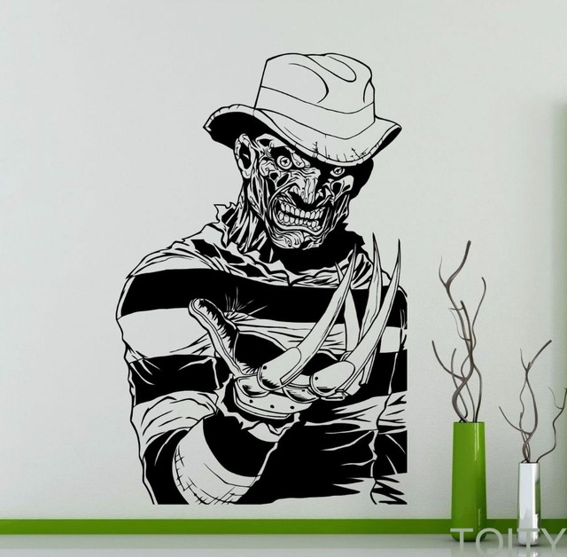 Freddy krueger wall decal nightmare on elm street horror movie poster vinyl sticker home room interior