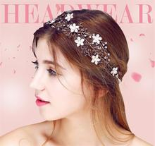 Tiara Headband Head Chain Pearl Jewelry Crown Hair Accessories Bridal Headpiece Bandeau Cheveux Femme Bijoux De Tete WIGO0669