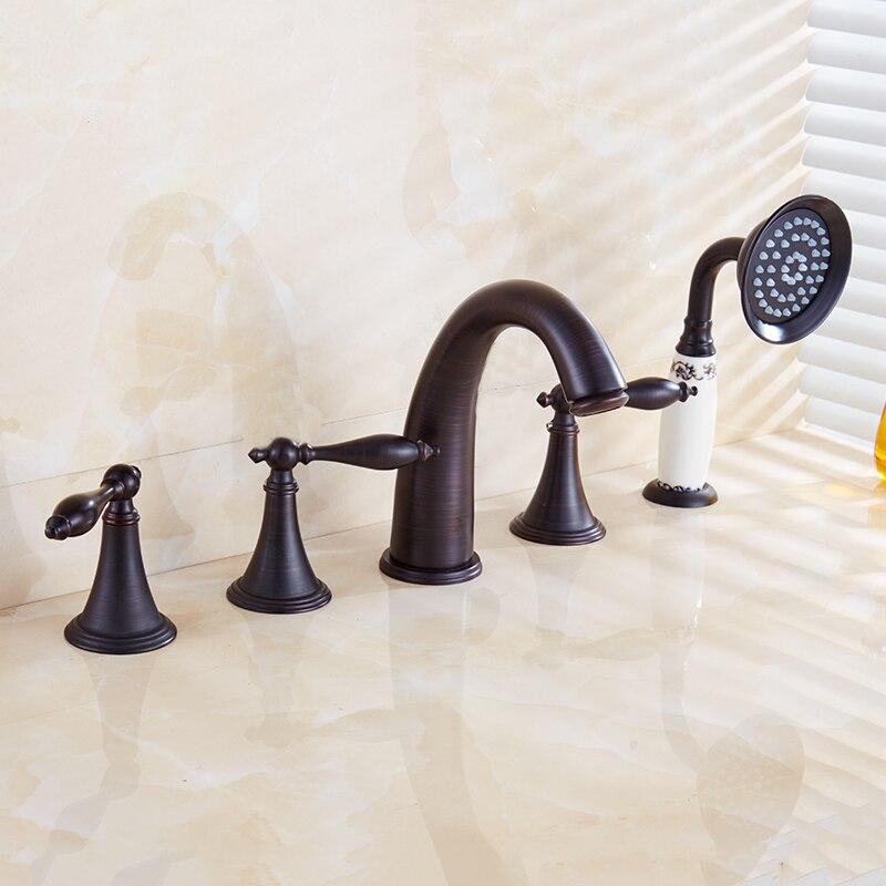 Brand Quality Bathtub Faucets Bathroom Tab Triple Handle Pure Copper Dual Holder Dual Control Torneira Bathroom Accessories