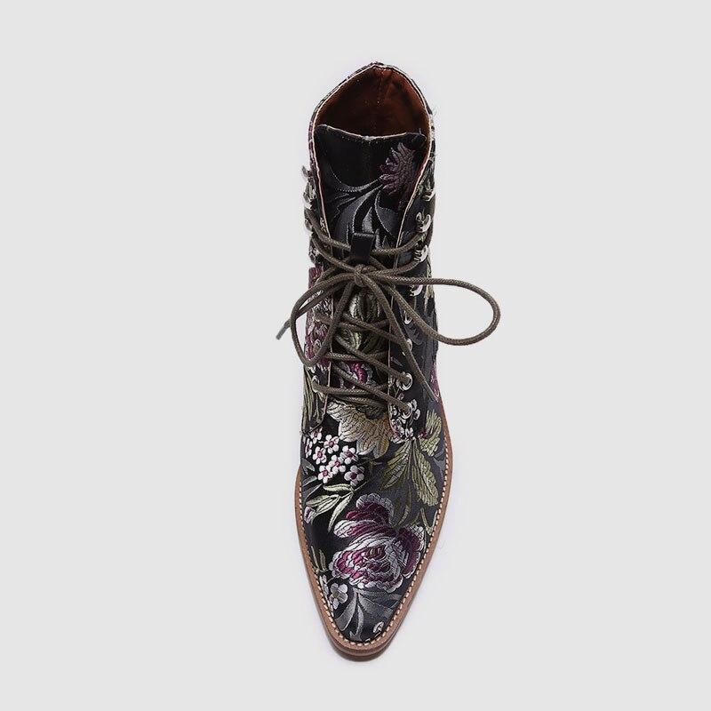 Bonjomarisa Fleurs Femme Haute Pour 35 Marque Chaussons Conception Chaussures Soie Talons Noir Large Piste 2019 Brodent 43 Nouvelle marron Femmes Cheville CQrxedoWB