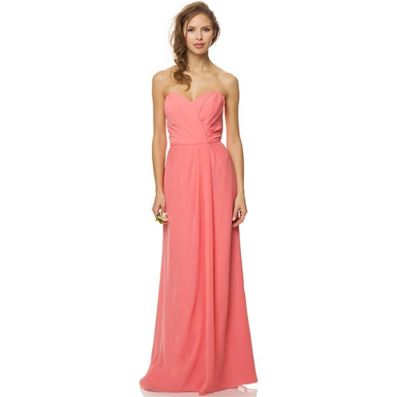 Cheap 2015 Pink Long Bridesmaid Dresses Chiffon Floor Length Backless Wedding Party Dress Sweetheart Prom Dresses With Pick Ups