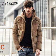 AILOOGE Men's Solid Thick Hooded Winter Coat Slim British Tide Thick Winter Hooded Down Jacket Coat Tide Male British Solid