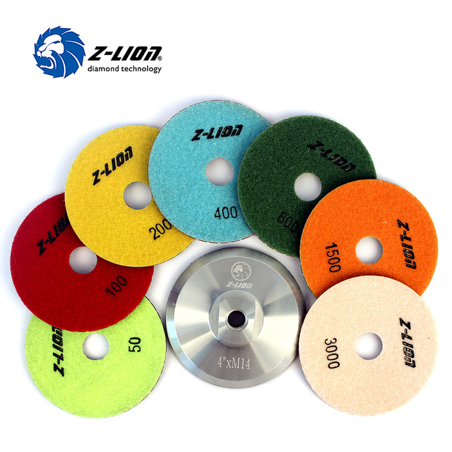 "Z-LION 7 Pieces & 1 Back-Up Pad 4"" Diamond Polishing Pad Resin Grinding Disc M14 Aluninum Backer Pads Granite Polishing Tool"