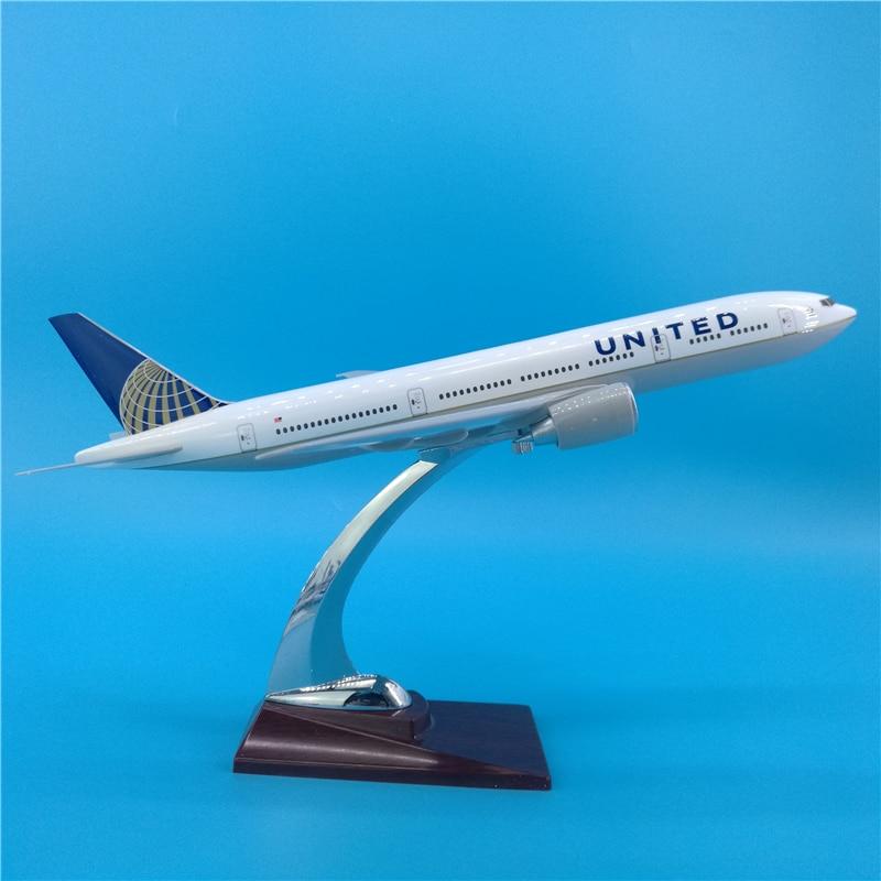 USA 32CM Boeing B777 American UNITED Airlines airways modèle Base cadre jouets avion moulé sous pression en plastique avion alliage cadeaux enfants