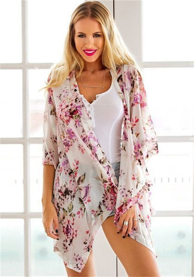 Hot Sale White Floral Print Blouse Chiffon Women Blouse Summer ...