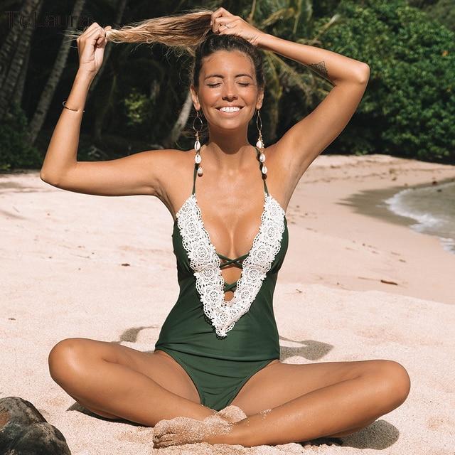 d09332f069 2019 Sexy Lace One Piece Swimsuit Women Swimwear Push Up Monokini Bandage  Bodysuit Beach Wear Bathing Suit Plus Size Swimsuit