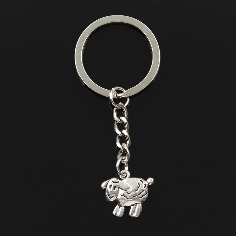 New Fashion Keychain 18x16mm Sheep Lamb Pendants DIY Men Jewelry Car Key Chain Ring Holder Souvenir For Gift
