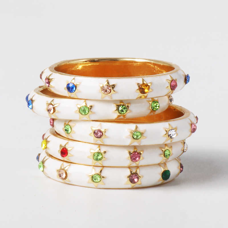 JUJIA Women Boho Korean Stars Crystals Gem Ring Lady Party Gold Wedding Rings For Women Girls Jewelry