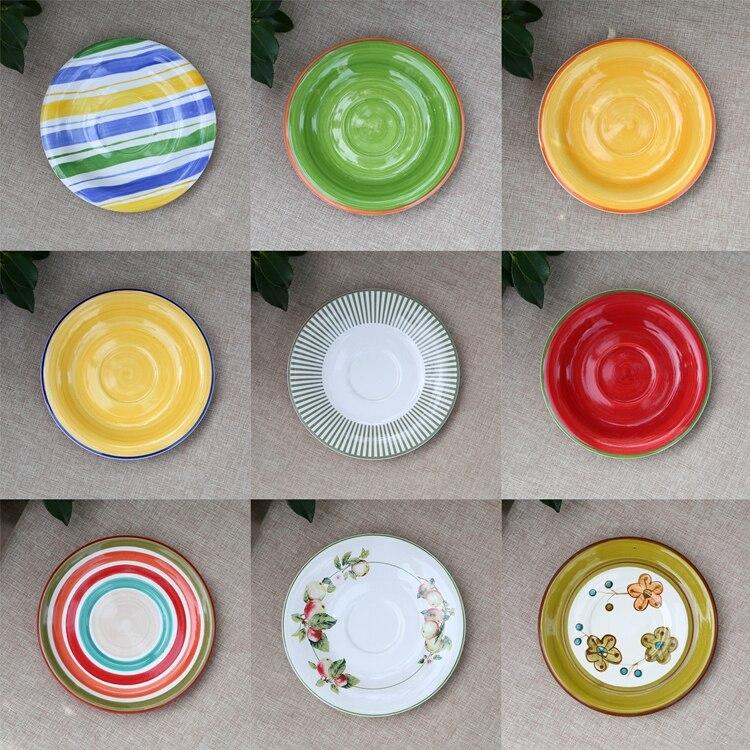 6.5 pulgadas color bonito partido decoración de platos de postre plato de cerámi