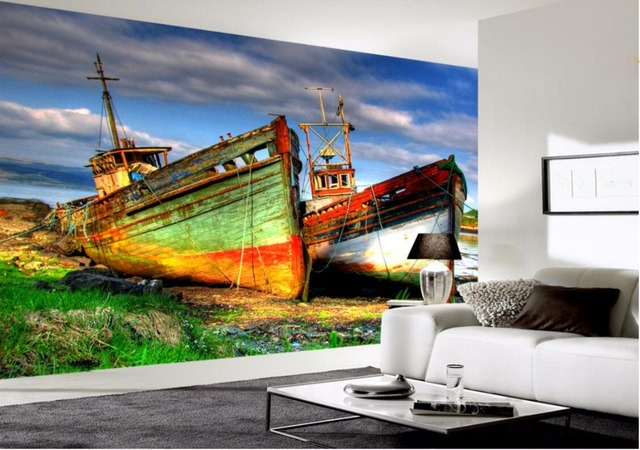 3d wallpaper custom photo mural colorful fishing boats 3d wall