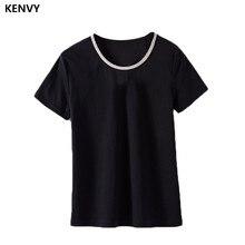KENVY брендовая модная женская Высококачественная Роскошная летняя тонкая новая хлопковая футболка с короткими рукавами, украшенная бусинами и металлической цепочкой