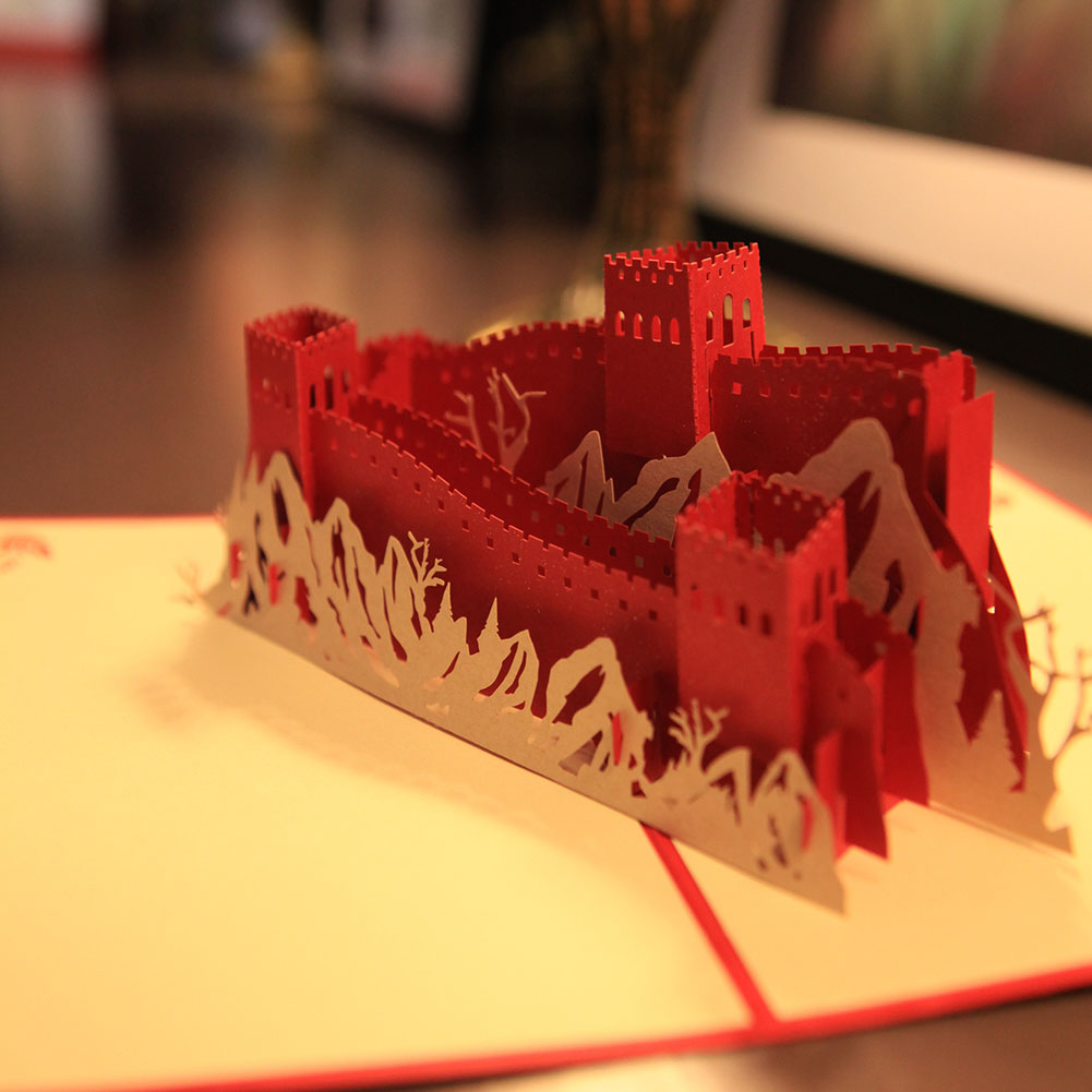 Chinese Great Wall Handmade Kirigami Origami 3d Pop Up Greeting