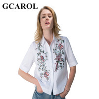 GCAROL 2017 Women Floral Embroidery Blouse Asymmetic OL Fashion Shirt Short Sleeve Euro Style Floral Tops