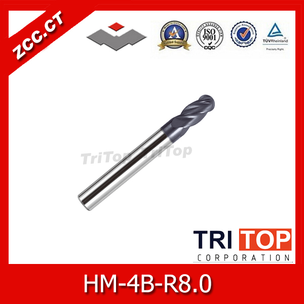 high-hardness steel machining series ZCC.CT HM/HMX-4B-R8.0 Solid carbide 4-flute ball nose end mills with straight shank gm 2b r7 0 cemented carbide high speed machining applicable 2 flute ball nose end mills straight shank cutting tools
