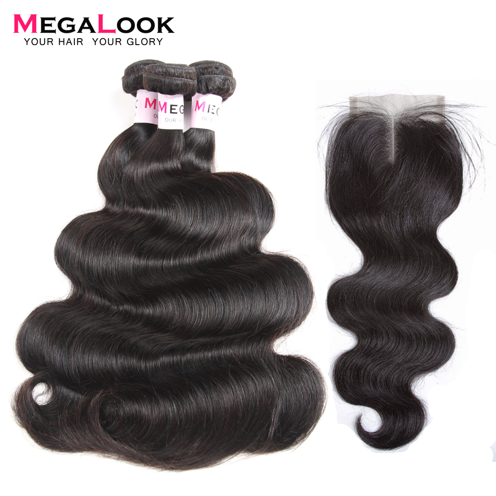 Megalook Peruvian Body Wave Human Hair Bundles with Closure 3pcs Natural Color Remy Hair with Closure