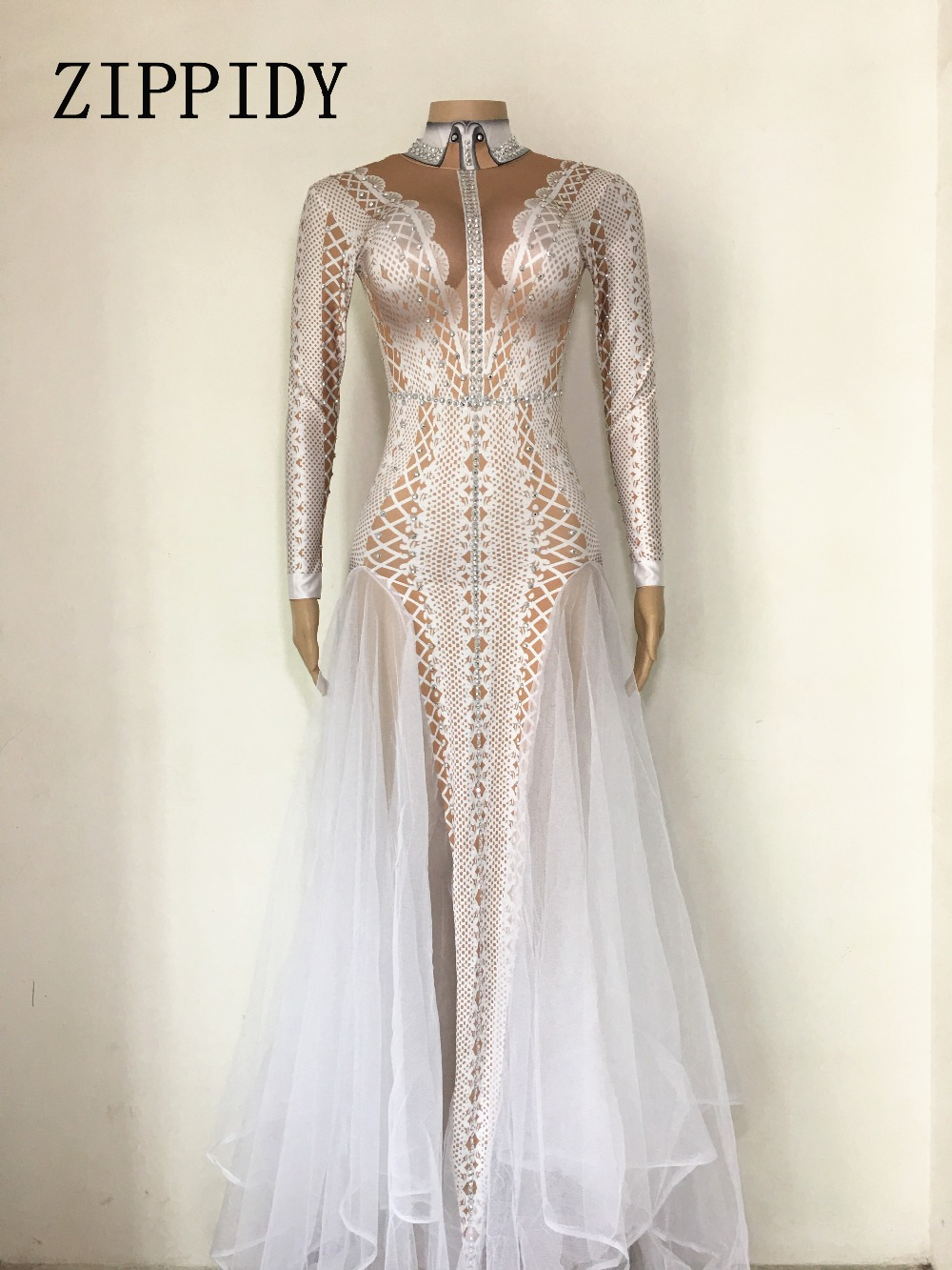Sexy Sparkly Stone Dress Women Summer Party Costume Stage Performance Wear Dance Singer Rhinestones Ladies Long