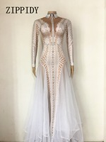 Sexy Sparkly Stone Dress Women Summer Party Costume Stage Performance Wear Dance Singer Rhinestones Ladies Long Dresses