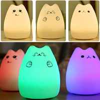 AIMIHUO New 7 color animal silicone lamp touch control LED lamp cartoon cute cat atmosphere lamp USB small night light DIY gift