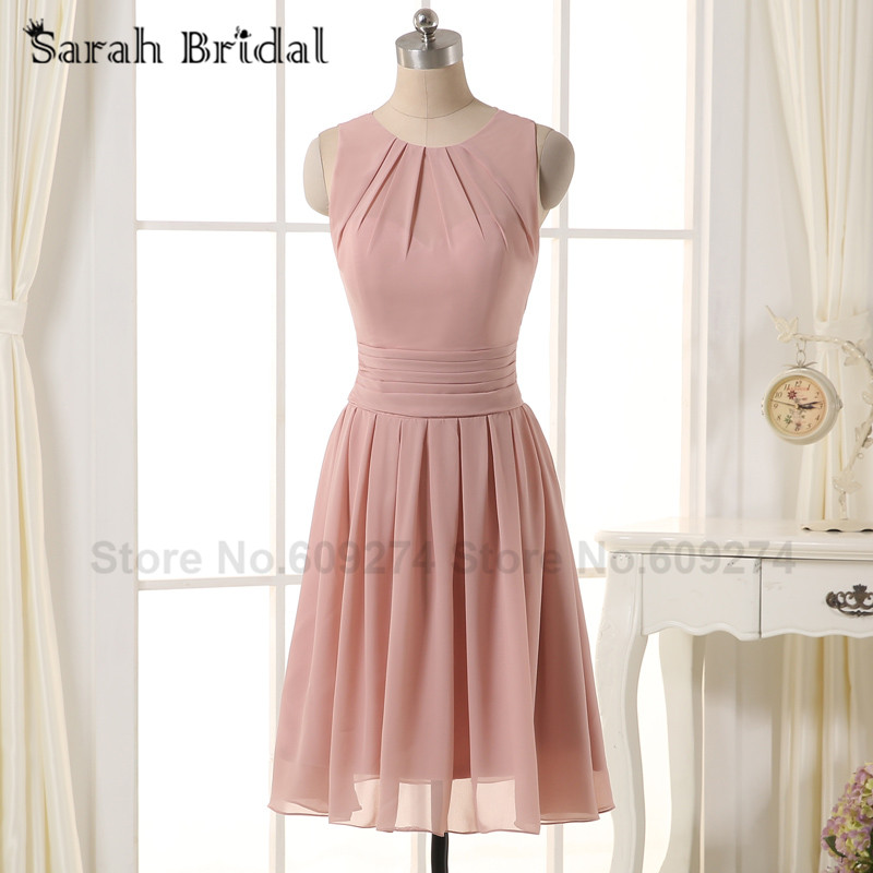 Robe Corail Dress Blush Chiffon Short Bridesmaid Dress
