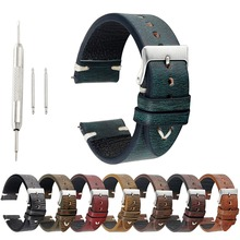 New Design Retro Watchband Genuine Leather Wristwatch Watch Strap Band 18mm 20mm 22mm 24mm Handmade Accessories KZ1229
