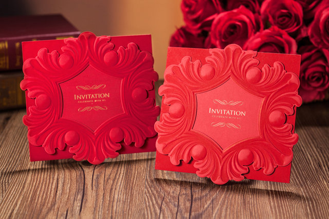 Personzlied Baroque Style Red Color Wedding Invitation Card Square Shape Laser Cut