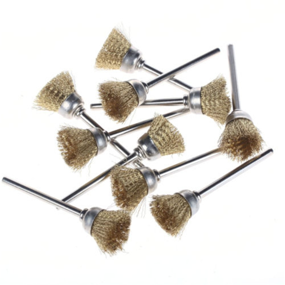 SPTA 20/60/100pcs 15mm Brass Wire Cup Brushes Wheel For Dremel Foredom Rotary Tools-2.35mm shank-Select Set 16pc brass bristle wheel brushes for dremel accessories for rotary tools
