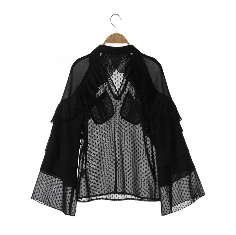 Runway Designer Office Lady Polka Dot blouses women Elegant Cute Ruffles shirts flare sleeves top ladies blusas black in Blouses amp Shirts from Women 39 s Clothing