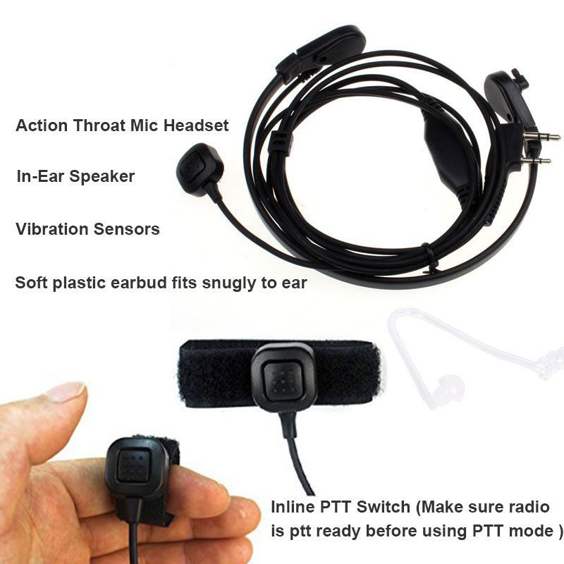 Throat Mic Earpiece Headset Finger PTT  Radio Transceiver For Baofeng UV5R 888s Radio Walkie Talkie For KENWOOD NX220/NX320