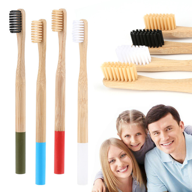 Y&W&F 4/1pcs Adult Toothbrush Natural Bamboo Toothbrush Soft Head Round Bamboo Material Handle Soft Bristle Toothbrush Drop Ship