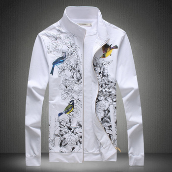T16138 Chinese style colorful bird flower pattern fashion jacket men Autumn 2018New quality wash and wear mens jackets and coats