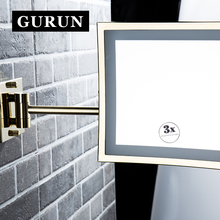 Gurun LED Makeup Mirror -LED 8 Inch Cosmetic Mirror 3X Magnifier Wall Mounted folding wall mirror compact blank M1802DJ