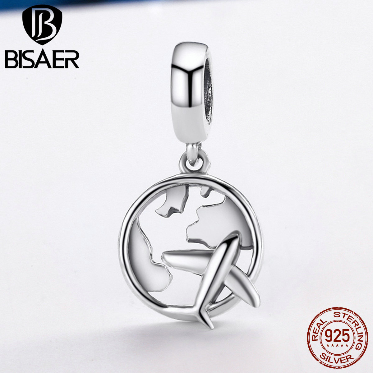 BISAER 925 Sterling Silver Traveling Dream Map & Plane Dangle Beads Fit Original PAN Charms Bracelet Silver 925 Jewelry Gift