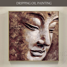 Skilled Artist Hand-painted High Quality Modern Buddha Portrait Oil Painting on Canvas Handmade Brown Face