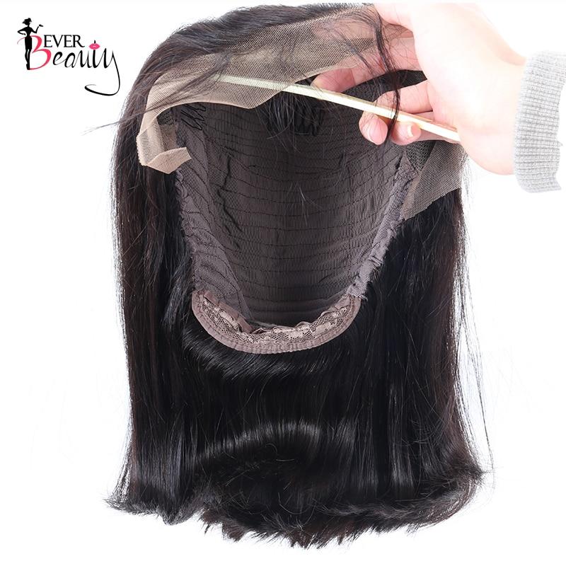 Dentelle Avant Perruques De Cheveux Humains Densité 250% Bob - Cheveux humains (noir) - Photo 4
