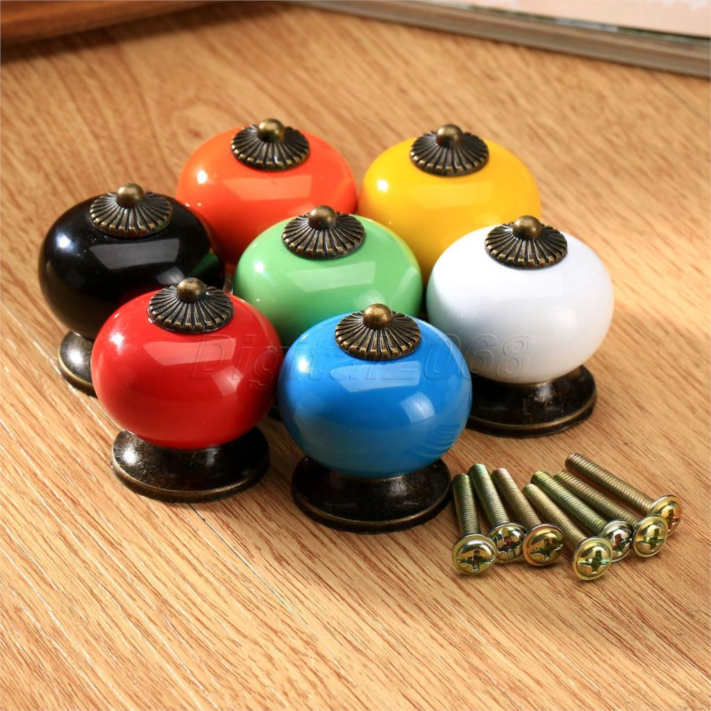 Discount Kitchen Cabinet Pulls Hot Sale Colorful Vintage Ceramic Door Pull Knobs Cabinet