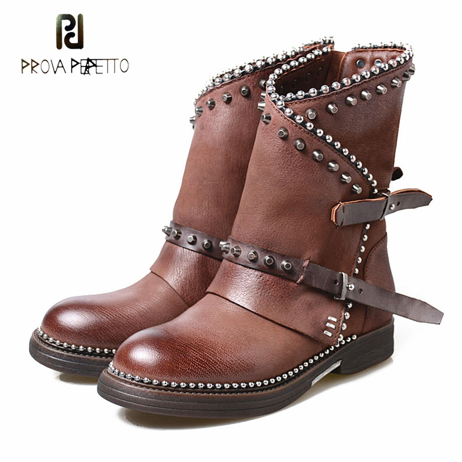 Prova Perfetto do old genuine leather women ankle boots rivet beading round toe platform rubber flats boots retro knight boots