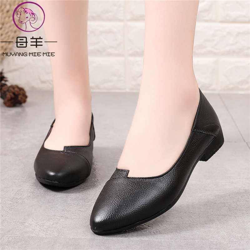c3924b42e5f71 MUYANG Women Shoes Woman Genuine Leather Ballet Flats Shoes Women Loafers  Fashion 2018 Comfortable Women Flats Plus Size 35- 43