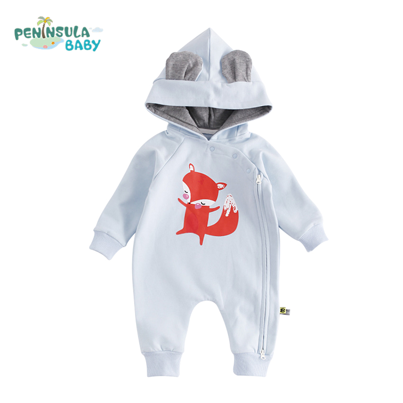 5a6dc82af Buy Autumn Winter Thick Warm Newborn Baby Rompers Cartoon Cats Fox ...