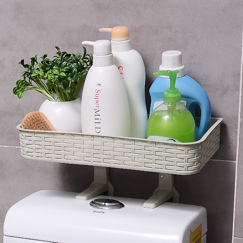 WHISM Not Drilling Toilet Shelf Wall Mounted Bathroom Rack Shampoo Towel Cosmetic Holder Hanging Toilet Paper Storage Shelf