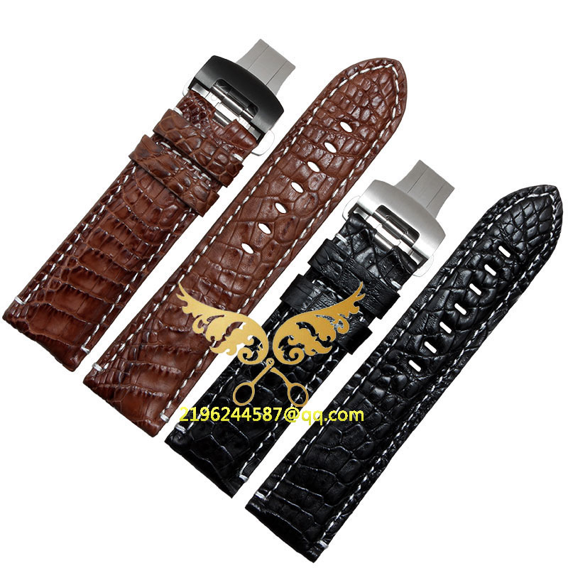 Free shipping 22mm 24mm 26mm New Mens Black Brown alligator genuine leather watch band butterfly Watch Buckle new mens genuine leather watch strap bands bracelets black alligator leather 18mm 19mm 20mm 21mm 22mm 24mm without buckle
