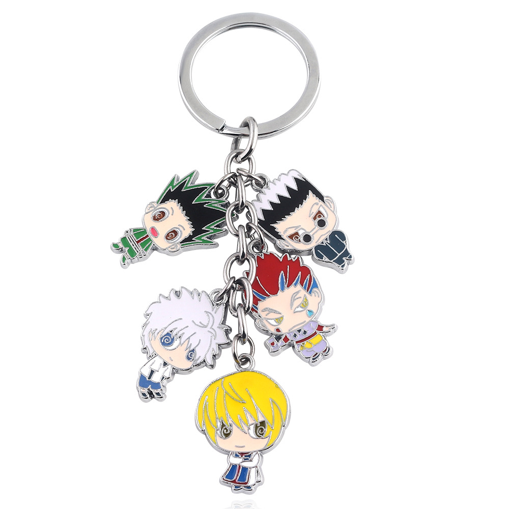 Anime Hunter X Hunter Metal Phone Strap Keychain Keyring Figure Pendant Toys Set Key Chain Keyring Cartoon Set Toy Gifts