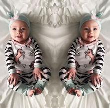 Cute Newborn Baby Boy Girl Horse Tops +Long Pants Hat Outfits 3PCS Set Clothes