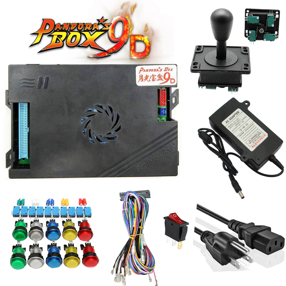 Купить с кэшбэком DIY Arcade Bundles kit With Pandora box 9D JAMMA version VGA & HDMI Long shaft Joystick Silver button Power supply Jamma Har
