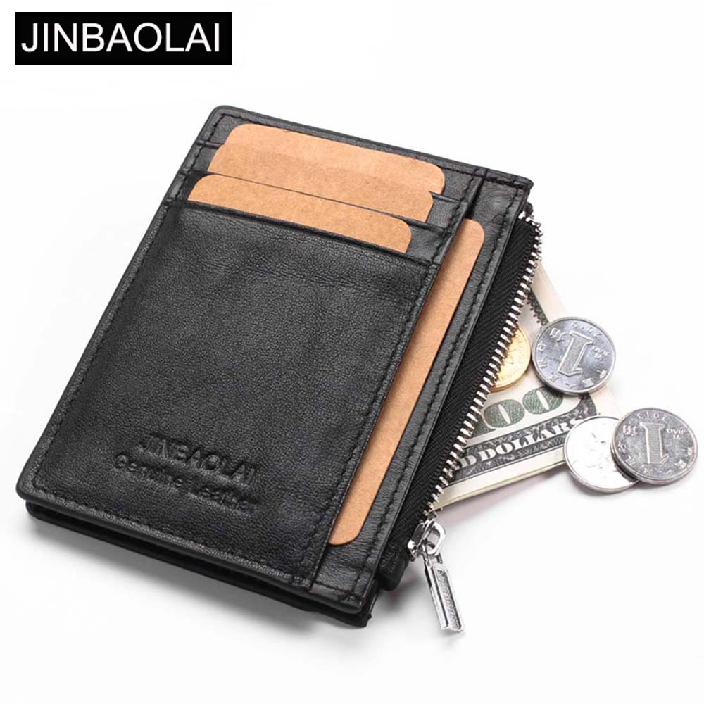 JINBAOLAI Mini Men Wallets Genuine Cow Leather Short Design Zipper Card Holder Male Purse Brand Causal High Quality Male Wallet