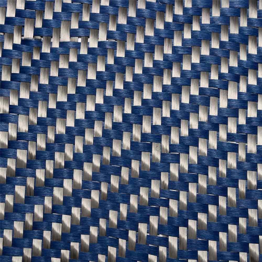 """ブルーケブラー & 3 3k カーボン繊維混合生地 12 """"/30 センチメートルワイド 2x2 綾織カーボン kevlars アラミド繊維布 200gsm 1100D"""