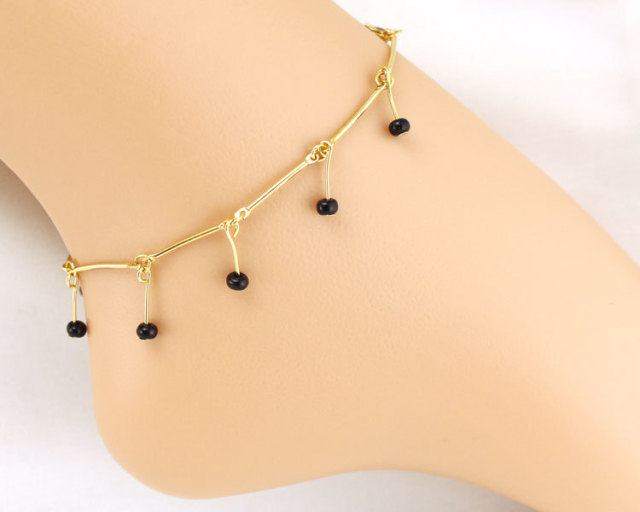 chain s dp leg amazon womens bracelet gold women bead com adjustable row beads double pendants grind arenaceous anklet foot plated